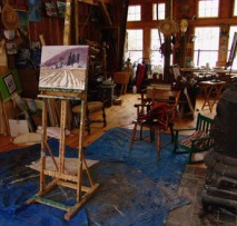 The studio of Carlton Manzano plein air artist
