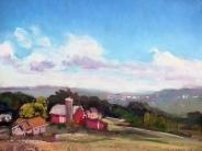 """Farm Overlooking Ithaca, oil on board, 12"""" x 16"""""""