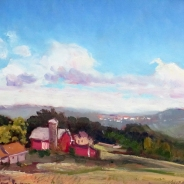 "Farm Overlooking Ithaca, oil on board, 12"" x 16"", $375"