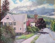 "SOLD First Prebyterian Church, oil on canvas, 16"" x 20"""