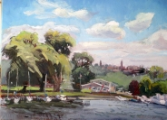 "SOLD Johnson's Boatyard, oil on canvas, 16"" x 20"""