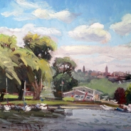 "SOLD Johnson's Boatyard, oil on canvas, 16"" x 20"""