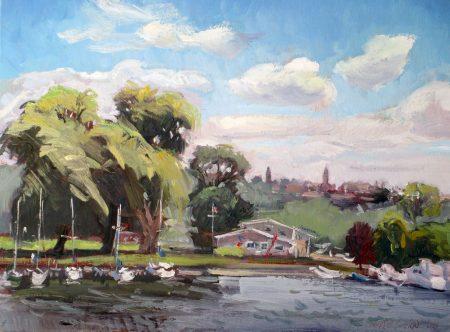 """Johnson's Boatyard, 16"""" x 20"""". SOLD"""