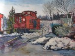 "The Red Caboose, 18"" x 24"""