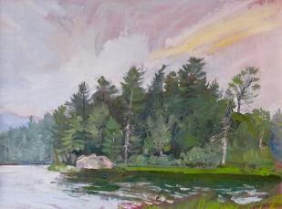 """Barnum Pond, Paul Smiths, 12"""" x 16"""""""