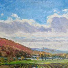 "Autumn in Cortland, 9"" x 12"". $175"