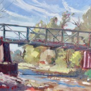 "Freese Road Bridge (looking west), 14"" x 18"", $375"